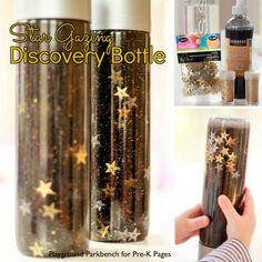 Star Gazing Discovery Bottles These star discovery bottles are perfect for a space theme in your preschool or kindergarten classroom Kids love to shake and look at the ni. Space Preschool, Space Activities, Preschool Science, Sensory Activities, Preschool Camping Theme, Preschool Shapes, Calming Activities, Montessori Preschool, Preschool Curriculum