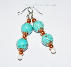 """Chunky 12mm Turquoise Stone Earrings,Turquoise Gold Hematite Stone Earrings,Stainless Steel Hypoallergenic Wires, 1.8"""" Stone Earrings"""