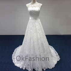 White/Ivory Sexy Lace Cap Shoulder Ball Gown Wedding Dress Bridal Gown