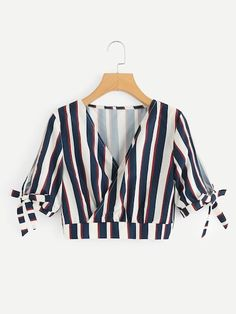 Shop V-Neckline Knot Sleeve Striped Crop Top online. SHEIN offers V-Neckline Knot Sleeve Striped Crop Top & more to fit your fashionable needs. Teen Fashion Outfits, Trendy Outfits, Girl Fashion, Cute Outfits, Womens Fashion, Fashion Dresses, Fashion Trends, Cropped Tops, Jugend Mode Outfits