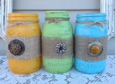 Burlap Wrapped Vintage Mason Jars / Set of 3 by ReFeatherYourNest, $27.00
