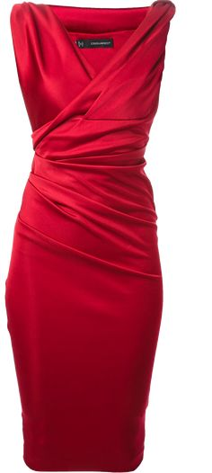 204aeb02b20c DSQUARED2 sleeveless red satin gathered runched cocktail dress. Röd Klänning  ...