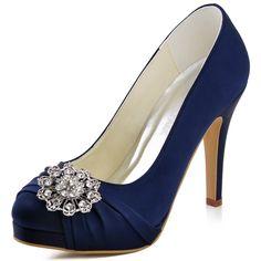 ElegantPark EP2015-PF Women's Prom Pumps Rhinstones Satin Wedding Bridal Shoes Navy Blue US 10