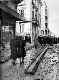 Dec 1944. The Greek fighters who have just finished a war with the Germans are now at war with the British troops in Athens and the right-wing security battalions all over Greece. Churchill used the British military to create  a confrontation between the new Greek government and the former resistance fighters.  https://s-media-cache-ak0.pinimg.com/originals/09/eb/7f/09eb7fcccc5e498fc5c6e4c26eb549b9.jpg