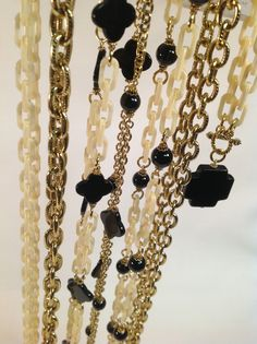 Ivory and onyx chain necklaces from Lorren Bell's Fall Collection for 2014.