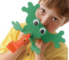 Fun frog craft activity - perhaps for a child's party.