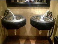 HUBBY'S GARAGE ✧ man cave sink  idea