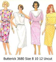 Butterick+Classics+3680+Sewing+Pattern+80s+Misses+Dresses+Size+8-10-12+Uncut