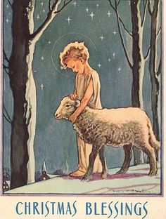vintage christmas card with sheep - Google Search
