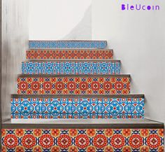 Tile decal : Stair riser Mexican style decal by Bleucoin on Etsy Tile Decals, Wall Tiles, Vinyl Decals, Mexican Colors, Mexican Style, Flooring For Stairs, Peel And Stick Vinyl, Stair Risers, Tile Design