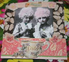 "Time for tea 4"" x 4"" collage art card, unmounted.$9.95 contact diadsie@comcast.net"