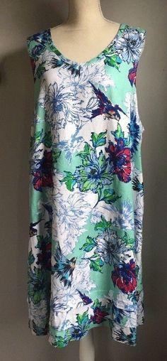 373ab129 Lantana Casuals Linen Dress Hawaiian Floral Print XL White Turquoise Blue