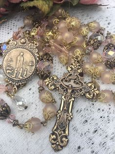 ROSARY ~ OUR LADY OF FATIMA ~ 8MM BLUSH PINK ROSELINE ~ ANTIQUE BRONZE DESIGN