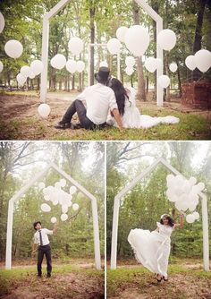 I love balloons pinned in the ground, might use this idea for our engagement shoot