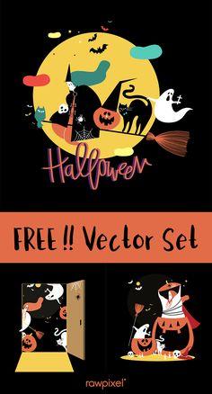 Download free Halloween characters image at rawpixel.com Halloween Patterns, Halloween Design, Disney Halloween, Halloween 2018, Halloween Frames, Creative Banners, Free Design, Design Set, Free Characters
