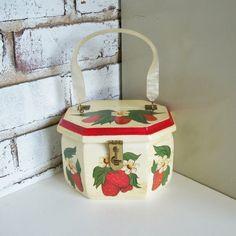 Vintage Octagonal Box Purse Strawberries Lucite Handle. $26.00, via Etsy.