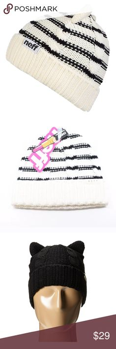 NEFF NWT Kat Black/White Beanie ✨SALE!✨ So cute and perfectly in style w all the adorable, celeb luved cat rage right now! The NEFF Kat Beanie is made of luxuriously soft knit and complete w cat ears and foldable brim. Stylish and fun, you'll luv this soft and adorable Beanie by NEFF. Sold out style! Last one here on sale now! First and second pix actual Beanie available, other pix same style different colors. Neff Accessories Hats