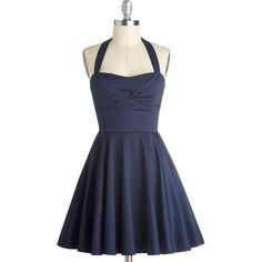 ModCloth Vintage Inspired Short Length Halter Fit & Flare Traveling... (78 CAD) ❤ liked on Polyvore featuring plus size women's fashion, plus size clothing, plus size dresses, dresses, vestidos, short dresses, blue, apparel, fashion dress and blue halter dress