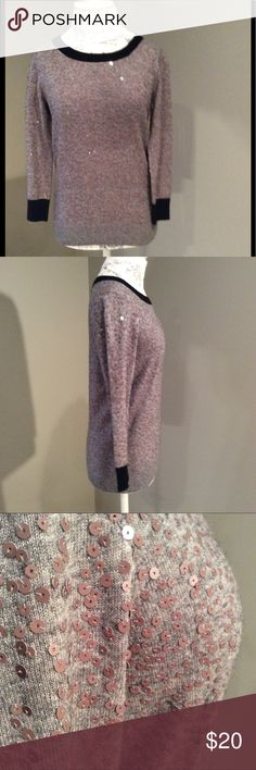 """J Crew Sequin Sweater Scoopneck gray with contrast navy at the neckline and cuffs.  Sequins all over except neckline and cuffs, pullover style.  Measures approximately 24"""" from shoulder seam to hem at front.  Excellent condition. J. Crew Factory Sweaters Crew & Scoop Necks"""