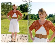 Womens Crochet Shrug-Burnt Orange.