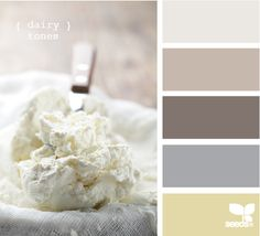 Dairy Tones: Yellowish Cream, Lovely Lavender, Dusty Mocha Brown, Pale Plum and Off White