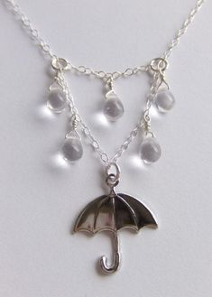 Silver Rainy Day Umbrella Jewelry Necklace Gift for Her