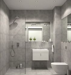 bathroom furniture curbless shower glass partition wall gray wall tiles small vanity