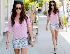 loose v neck with patterned skirt