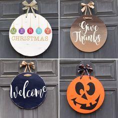 Reversible Fall winter welcome hanging door decor winter | Etsy