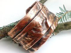 Funky Urban Copper Fold Formed Bracelet Cuff   - Cross Hatched Forged Earthy Organic - OOAK Bohemian Folksy Oxidized Patina Antique Rustic. $42.00, via Etsy.