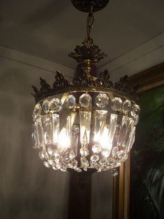 Vintage Crystal Prisms Gold Crown Basket Chandelier Ceiling Light French Empire #FrenchEmpire