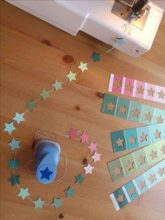 Sternenkette   Papier stanzen   nähen   Dekoration   Weihnachten