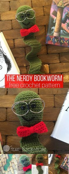 The Nerdy Bookworm Bookmark Free Crochet Pattern - Amigurumi Ideas Crochet Bookmarks, Crochet Books, Crochet Home, Crochet Gifts, Cute Crochet, Crotchet, Yarn Projects, Knitting Projects, Crochet Projects