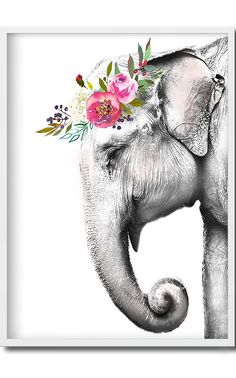 Moose Art, Watercolor, Animals, Paintings, Shades Of Green, Colorful Flowers, Black And White, Elephant Background, Paintings Of Elephants