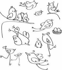 Spectacular Obtain vector royalty free vector Vector birds silhouettes. designed by rvika a . Bird Drawings, Doodle Drawings, Doodle Art, Easy Drawings, Bird Silhouette, Silhouette Design, Bird Coloring Pages, Coloring Books, Adult Coloring