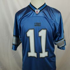Roy Williams  11 Reebok Jersey  NFL Football Jersey Large Detroit Lions Blue   Reebok bbba5d9cc