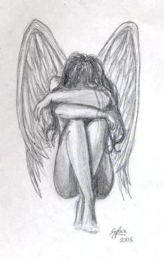 Crying angel drawing in pencil