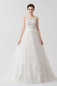 Organza Applique Beading Lace Wedding Dress With Straps [NW24060]- US$ 464.00 - PersunDresses.com