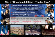 Win a VIP trip to the 2012 US Open & tickets to Billie Jean King's Personal Suite.  #tennis
