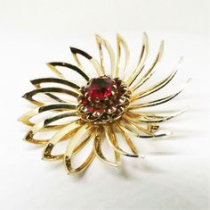 Red Brooch - Vintage, Sarah Coventry Signed, Gold Tone Red Rhinestone Floral Pin by MyDellaWear on Etsy $18