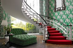 Central staircase in the Greenbrier Presidential Suite
