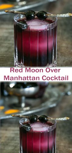 Red Moon Over Manhattan Super Cocktail – Cocktails Bar Drinks, Non Alcoholic Drinks, Wine Drinks, Yummy Drinks, Bourbon Drinks, Cocktail Maker, Cocktail Drinks, Cocktail Recipes, Manhattan Recipe