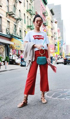What is Chic and how to look Chic, red jeans, chloe bag, levi's t-shirt, casual outfit, outfit ideas, summer style  #outfitideas #summerfashion #casualstyle #style #ootd