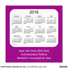 2016 Purple Calendar by Janz 5 x 5 Magnet Magnetic Invitations