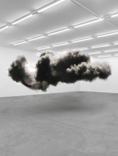 Fabian Bürgy   Black Cloud  *buy cotton balls, spray paint them (mist, it won't make the cotton balls dissolve or lose shape... anything heavier will though so be careful)... buy clear wire, and buy a neutral colored base. Photograph this in your apartment against a white backdrop.