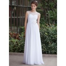 [US$ 126.99] A-Line/Princess Scoop Neck Floor-Length Chiffon Tulle Wedding Dress With Ruffle Flower(s) (016026255)