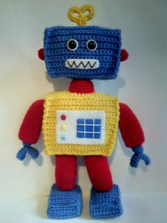 Handmade crochet robot by CarrotTopsCharacters on Etsy