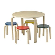 Bentwood Table And Stool Set For Kids Stools Featured Colored Tops To Contrast Against The Clean Natural Finish Of Legs
