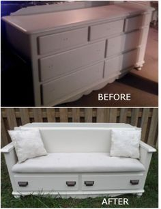 Dresser converted to love seat with storage. Wouldn't that be cool!