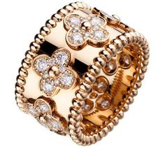 Van Cleef & Arpels 18k Diamond Perlee Ring